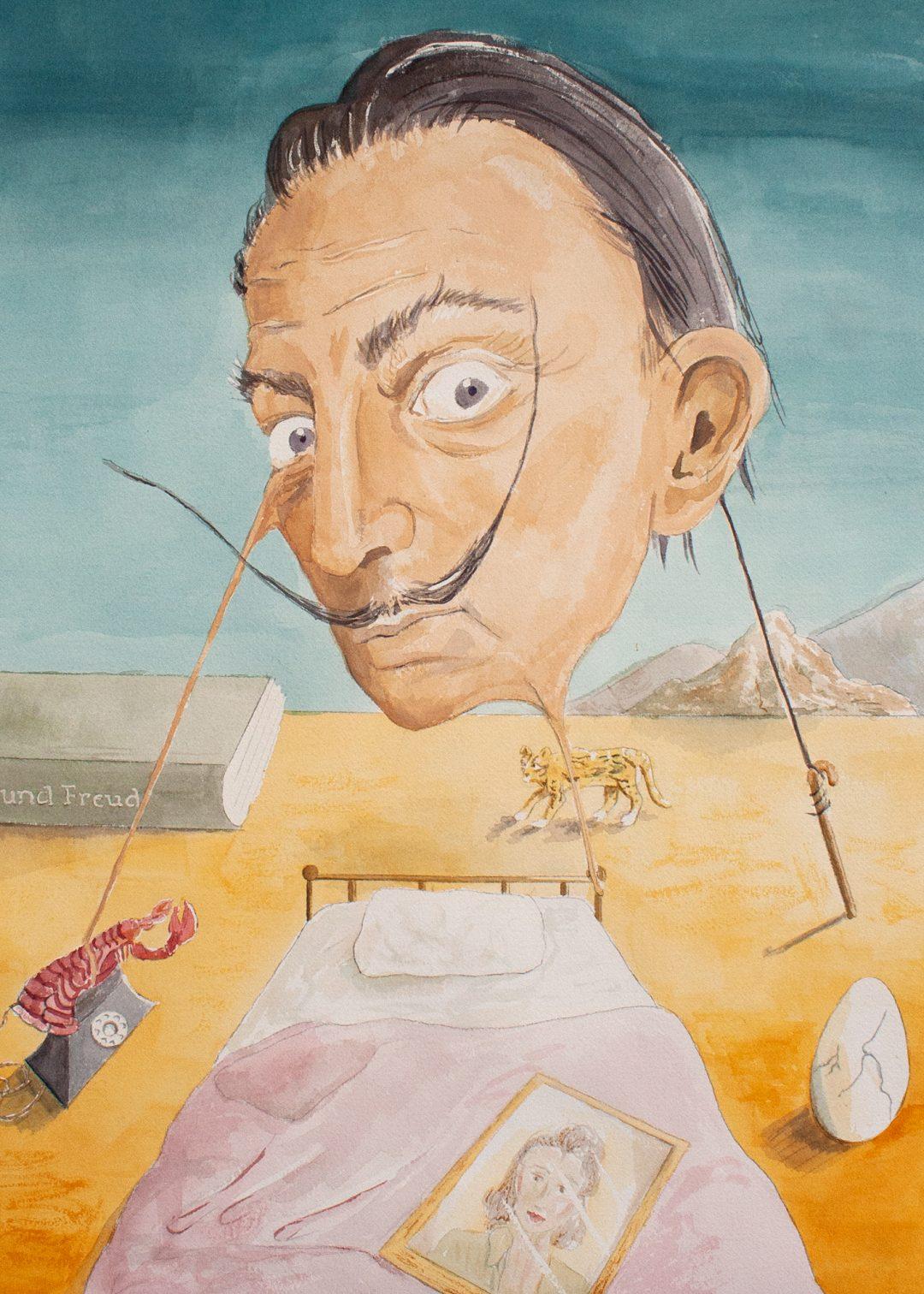 Salvador Dali watercolor portrait